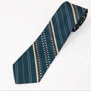 Vintage 70's Forest Green Tie Orange & White Dots